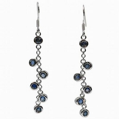 Round Cut Sapphire Dangle Earrings