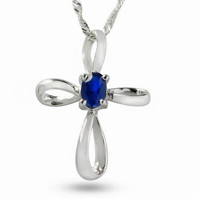 Sterling Silver Cross Sapphire Necklace
