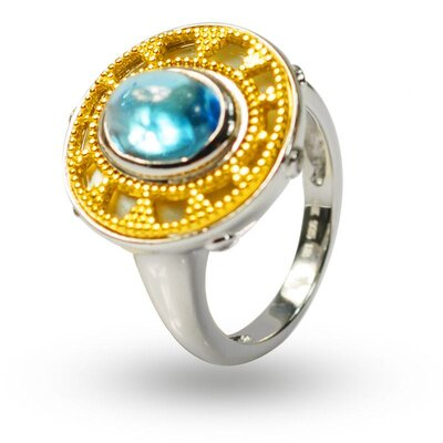 DeBuman 925 Silver Oval Topaz and Zircon Solid Ring