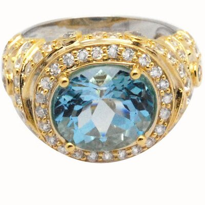 DeBuman 18K Gold and Sterling Silver Oval Sky Topaz and Zircon Ring