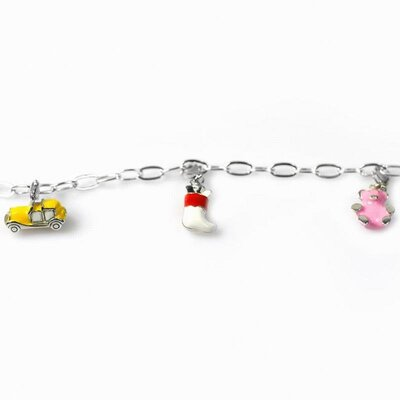 DeBuman Enamel Bear and Car Charm Bracelet