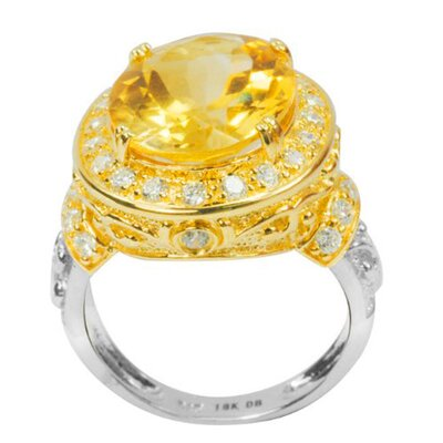 925 Silver Oval Cut Genuine Citrine and White Topaz Ring