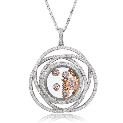 Sterling Silver Cubic Zirconia and Crystal Eternity Necklace