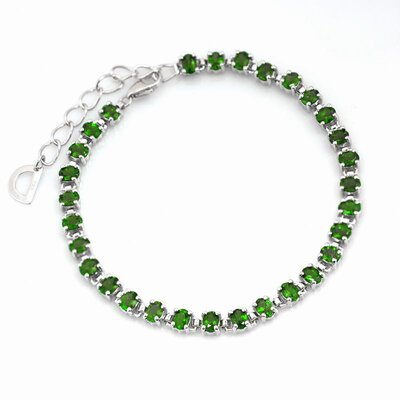 Genuine Chrome Diopside Link Bracelet