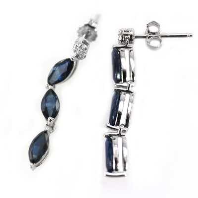 DeBuman Marquise Cut Sapphire Drop Earrings