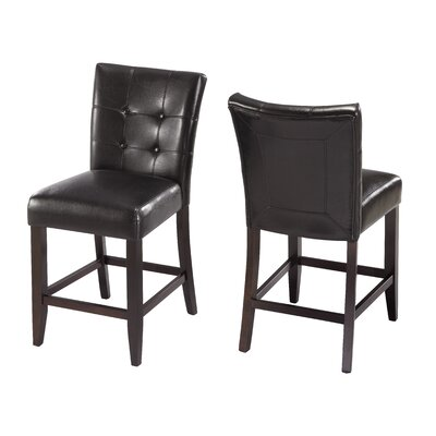 Modus Furniture Bossa Counter Height Parsons Stool in Black Leatherette Seat (Set of 2)