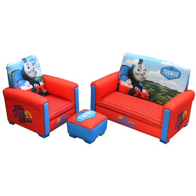 Hit Entertainment Thomas and Friends Full Steam Ahead Toddler Sofa, Club Chair and Ottoman Set ...