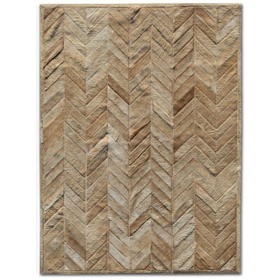Pure Rugs Patchwork Cowhide Yves Wheat Rug