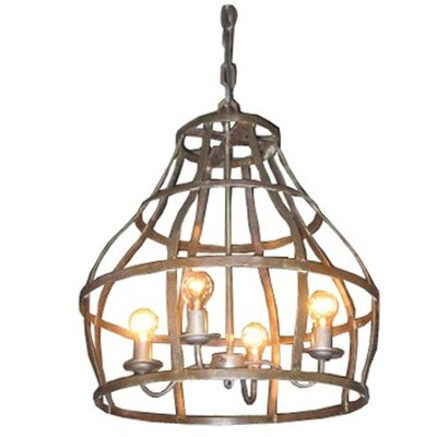 Noir Birdcage 4 Light Foyer Pendant