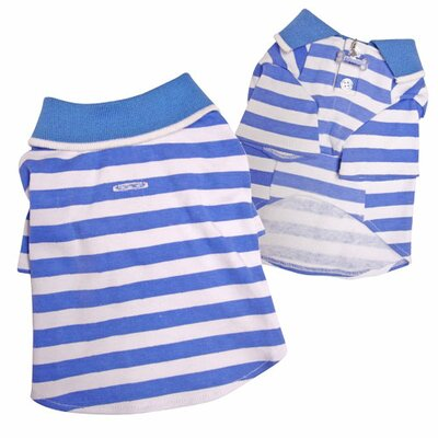 Lightweight and Soft Sky Blue Striped Polo Dog Shirt