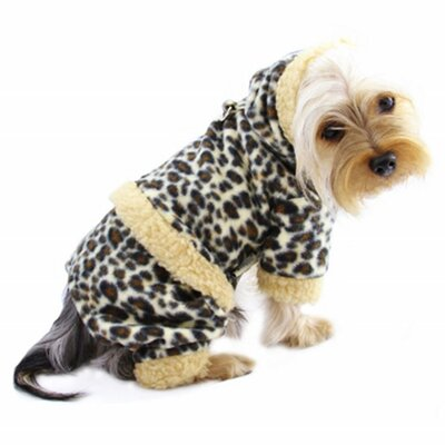 Klippo Pet Adorable Leopard Print Fleece Hooded Dog Bodysuit