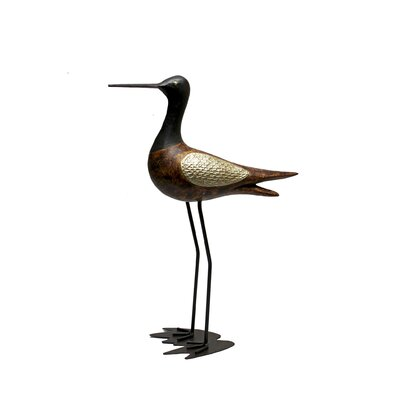 Vita V Home Shore Bird Sandpiper Statue with Head Up