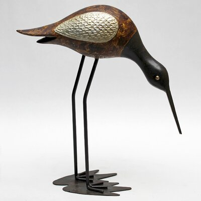 Vita V Home Shore Bird Sandpiper Statue with Head Down