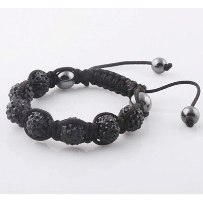 GGI International Adjustable Micro Pave CZ Disco Crystal Shamballa Bracelet