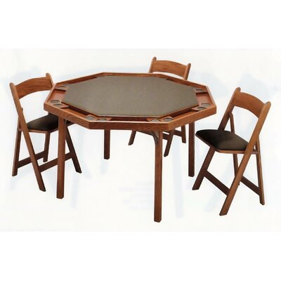 "Kestell Furniture 57"" Maple Contemporary Folding Poker Table Set"