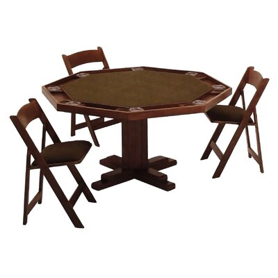 57'' Oak Pedestal Base Poker Table Set