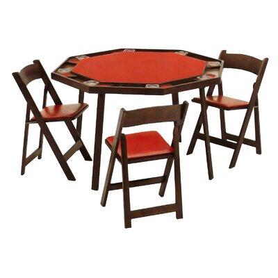 52 oak folding poker table set wayfair for 52 folding table