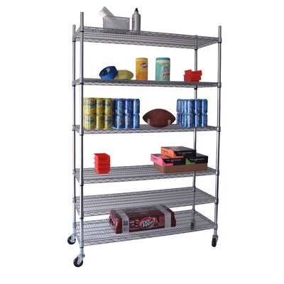 Trinity Six Tier NSF Shelving Rack in Chrome