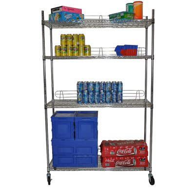 Trinity Four Tier NSF Shelving Rack in Chrome