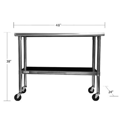 "Trinity EcoStorage™ 48"" Stainless Steel Table w/Wheels"