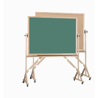 AARCO Reversible Free Standing Combination Board with Chalk Board and Bulletin Board