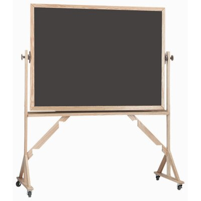AARCO Reversible Free Standing Chalk Board with High Gloss lacquered Frame in Green/Slate