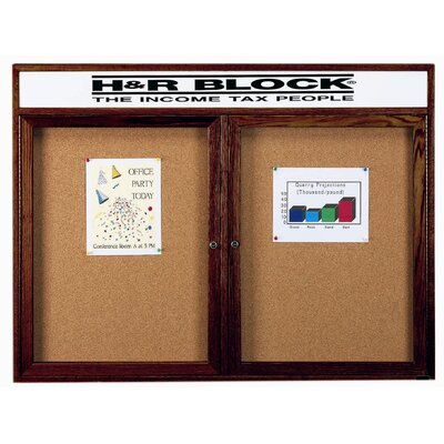 AARCO Enclosed Bulletin Board with Natural Pebble Grain Cork Back Panel
