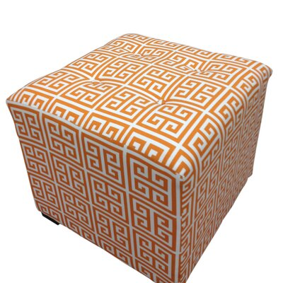 Sole Designs Amelia Chain Square Cotton Tufted Cube Ottoman