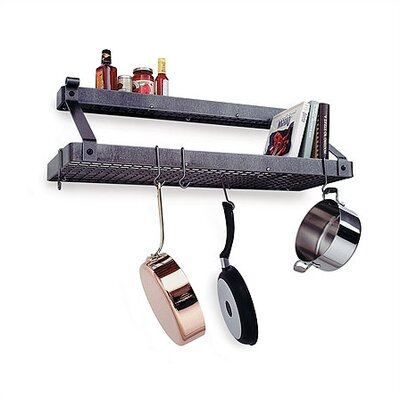 Enclume Premier Deep Bookshelf Wall Mounted Pot Rack with Shelf