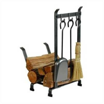 Enclume Country Home 3 Piece Steel Fireplace Tool Set with Log Rack