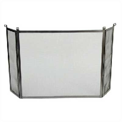 Enclume Rolled End 3 Panel Steel Fireplace Screen