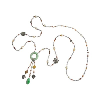 Sterling Silver Gemstone Chinese Graceful Charm Necklace