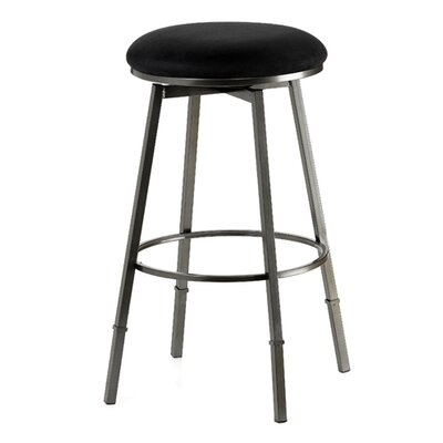 "Hillsdale Furniture Sanders 24-30"" Adjustable Backless Bar Stool with Black Suede in Pewter"