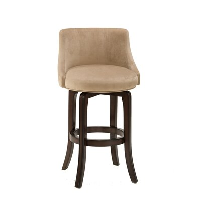 Napa Valley Swivel Bar Stool in Textured Khaki and Cherry