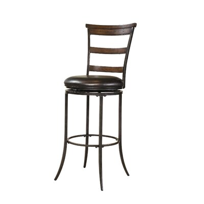 Hillsdale Furniture Cameron Ladder Back Swivel Bar Stool in Distressed Chestnut Brown