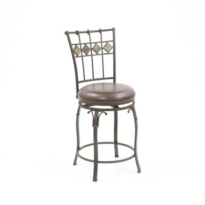 "Hillsdale Furniture Lakeview 24"" Counter Stool with Diamond Motif in Brown"