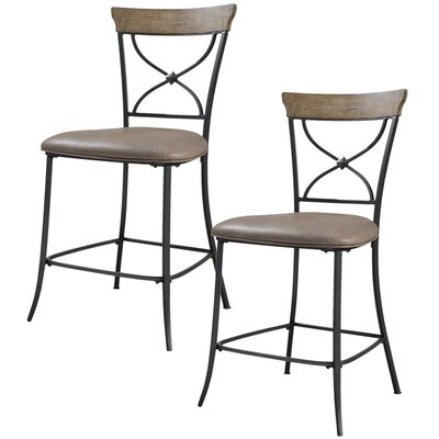 Hillsdale Furniture Charleston X-Back Non-Swivel Counter Stool in Distressed Desert Tan (Set of 2)