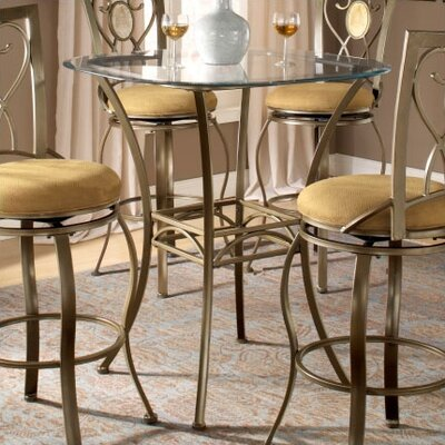 Hillsdale Furniture Brookside Bar Height Glass Bistro Table with Diamond Back Swivel Bar Stools