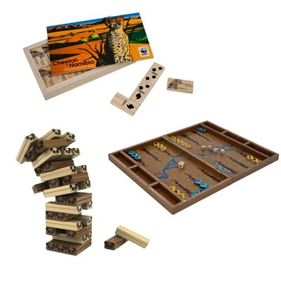 Zoo Animals Wild Animal Wood Tumbling Tower, Backgammon and Dominoes Board Game