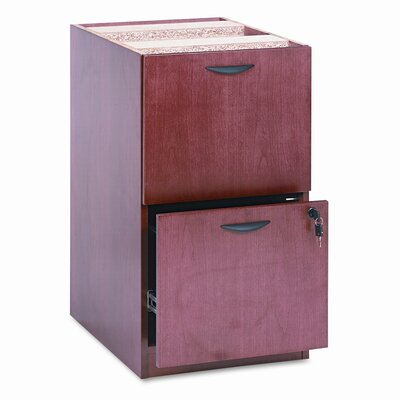 Basyx by HON Two-Drawer Pedestal File, 15-5/8w x 22d x 27-3/4h, Bourbon Cherry