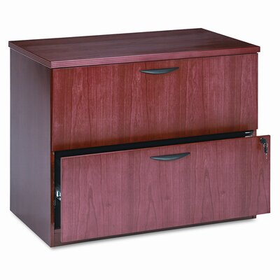 Basyx by HON Veneer Two-Drawer Locking Lateral File with Beaded Edge Detail