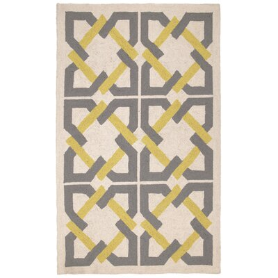 Geometric Tile Yellow/Grey Rug