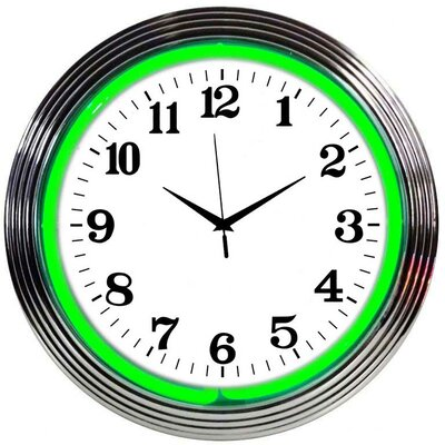 Chrome Green Neon Clock