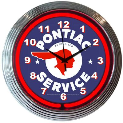 "Neonetics Cars and Motorcycles 15"" Pontiac Service Wall Clock"