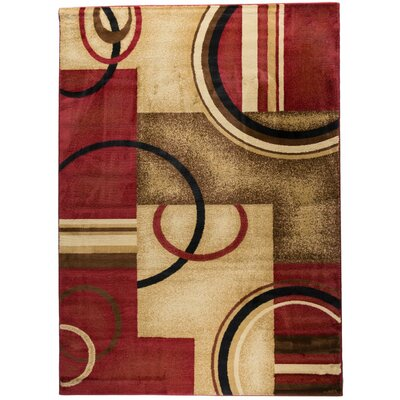 Barclay Red Arcs and Shapes Rug