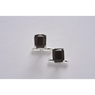 Sterling Silver and Black Onyx Square Cuff Link Set