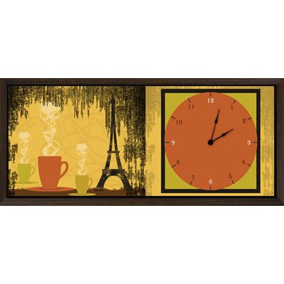 Green Leaf Art Coffee in Paris Art Clock