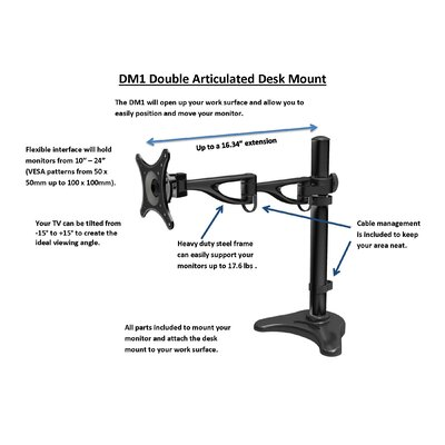Rocelco Double Articulated Desk Monitor Mount