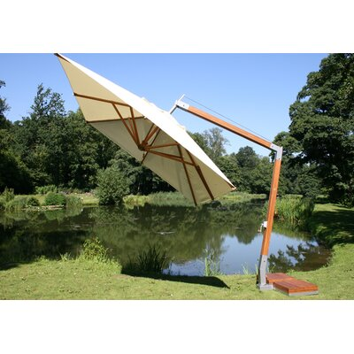 10' Square Bamboo Cantilever Umbrella