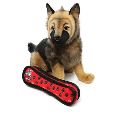 Tuffy's Pet Products Ultimate Bone Dog Toy - Red Paw Print